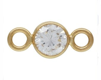 14Kt Gold Filled 4mm CZ Bezel with 2 closed rings - 25pc (3911) High Quality