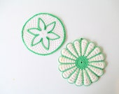 Set of Two Vintage Crochet Potholders, Green and White Crocheted Pot Holders trivets