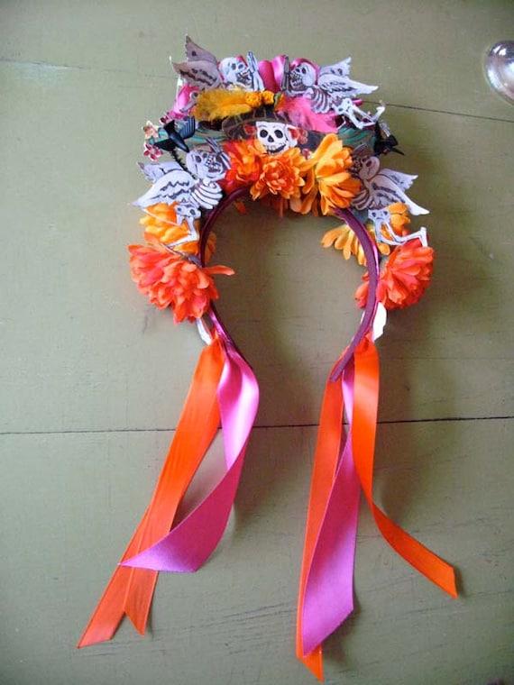 Dia De Los Muertos Headband, Day of the Dead Headpiece, Flower Crown, Day of the Dead Headband, Day of the Dead Headdress
