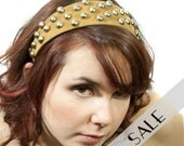 studded gold headband in suede dots studs 33% SALE