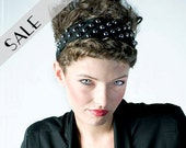 Studded Headband in Black Suede 33% DISCOUNT