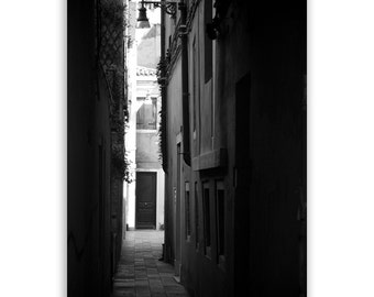"Venice Photography, Italy photos, walkways of Venice, home decor - ""Light's Passage"" - Black & White Fine Art Photograph"