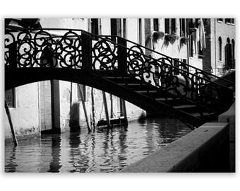 Venice Photography, Italy photos, bridges of Venice canals, black and white home decor prints - Fine Art Photograph B&W