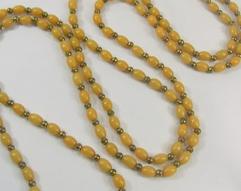 """Vintage Necklace 54"""" Flapper Ivory Celluloid Beads Long Opera Length"""