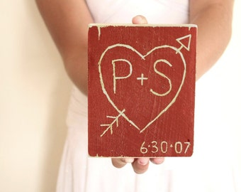 Valentine Sign , red heart , rustic decor , red decor , 5th anniversary gift for him , initial sign