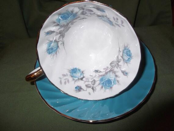 Aqua Blue Aynsley cup and saucer- circa 1930's  -867