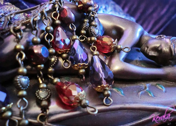 SALE-Iridescent Siam and Violet Crystal Renaissance Chandelier Earrings- Sparkly, Bohemian, Lightweight/ Hypo-allergenic