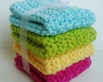 Crochet Dishcloths Washcloths - Set of 4 - For Kitchen, Bathroom, Baby - Aqua Blue, Lime Green, Yellow, Dark Pink - 100% Cotton