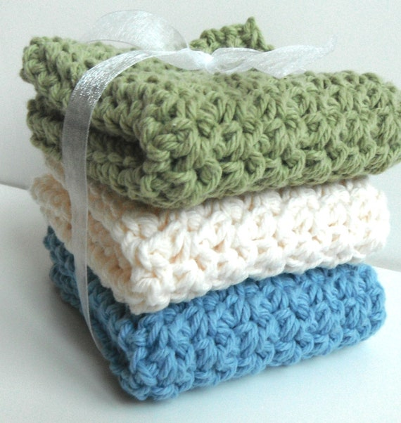CLEARANCE - Crochet Dishcloths Washcloths - Set of 3 - For Kitchen or Bathroom - Sage Green, Cream, Blue - 100% Cotton