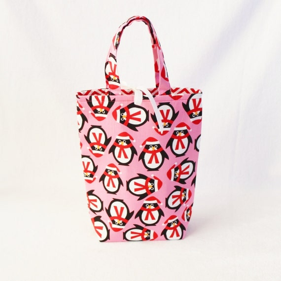 Fabric Gift Bag with Handles Medium - Ann Kelle Jingle Pink Penguins with Chevrons for Robert Kaufman