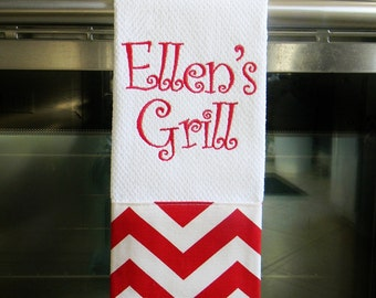 Personalized Kitchen Towel - Red Chevron | Housewarming Gift | Hostess Gift | Gifts for Her | Wedding