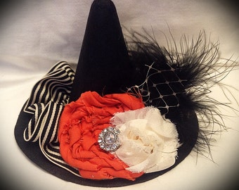 Mini Witch Hat with Shabby Chic Halloween Decor