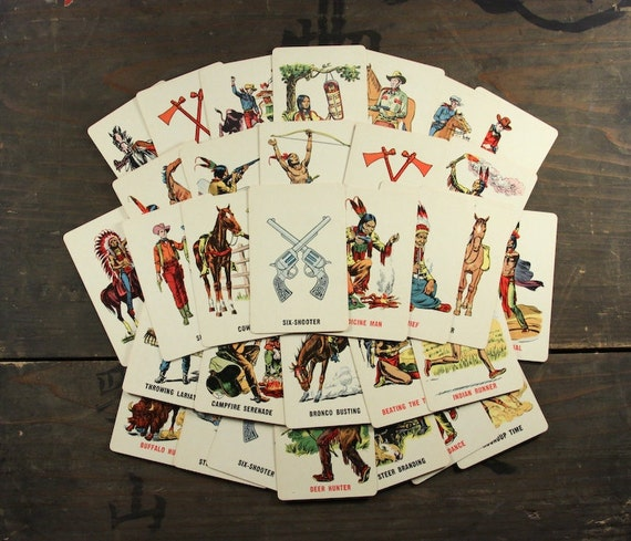 "32 Vintage Playing Cards ""Cowboys and Indians"", Paper Ephemera, Collectibles"