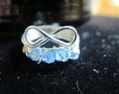 Wire wrapped DECEMBER birthstone infinity ring with blue tanzanite Swarovski crystals, can be made in any size
