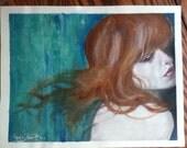 Handmade watercolor poster of Mermaid