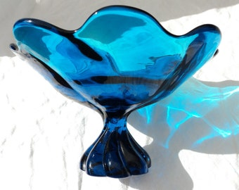 cerulean teal turquoise deep bright blue slump glass vase viking