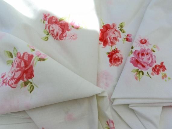 vintage pink roses sheet twin