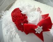 Baby Headband, Headband, Children, Flower Headband, Christmas Headband, Baby, Photo Prop / Red and White Rosette Headband