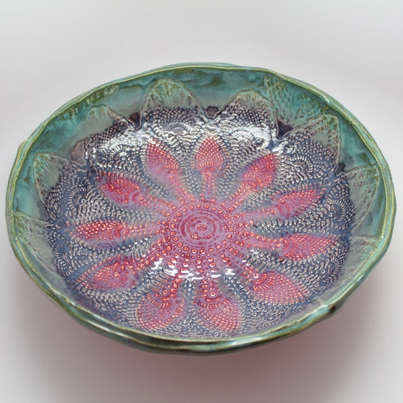 Extra Large Handmade Lace Bowl in Turquoise, Purple and Plum