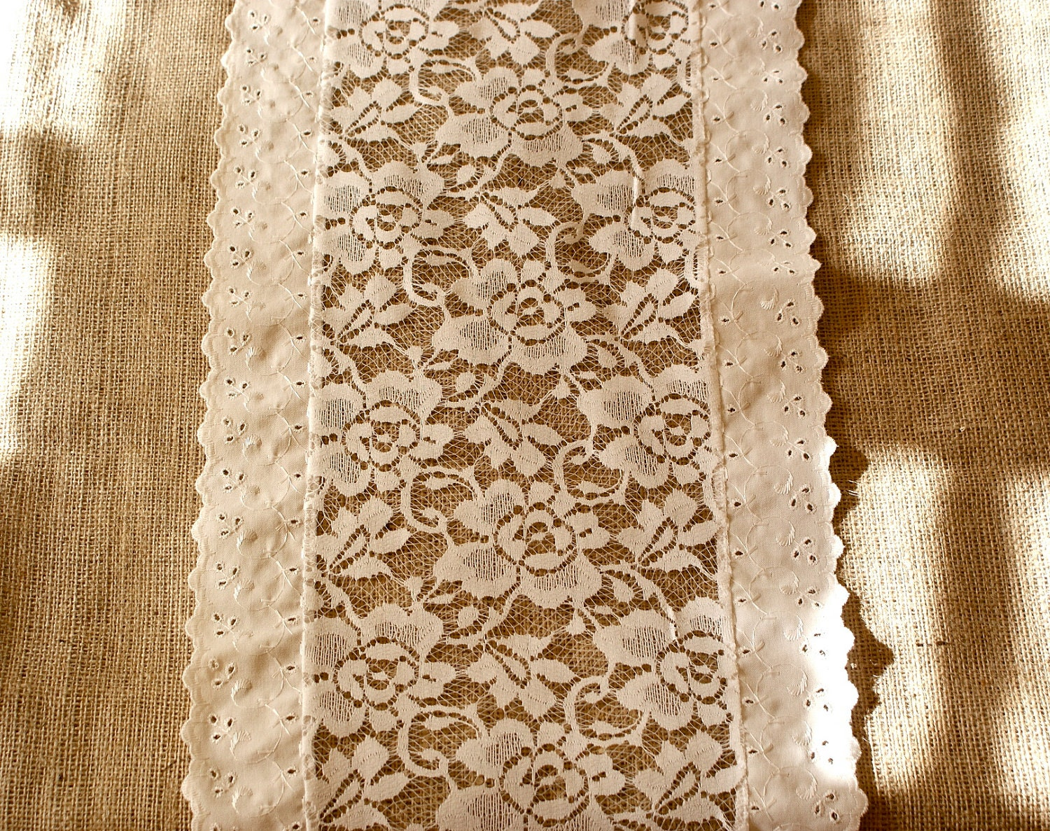 Lace Table Runner Ivory