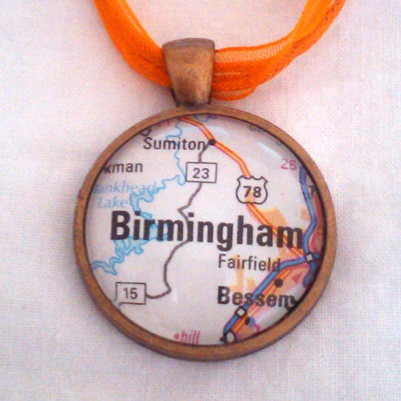 Birmingham Alabama Vintage Map Pendant with Necklace - OOAK - Necklace Options - Free Shipping