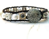 Bridesmaid Bracelet Stardust and Rhinestone Beaded Leather Wrap Bracelet