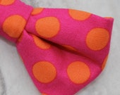 Boy's and Mens Bow Tie in Pink with Orange Polka Dots - clip on, pre-tied with Strap or self tying
