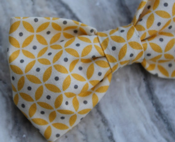 Men's Yellow and Gray Circles and Dots Bow Tie - Clip on, pre-tied with strap or self tying