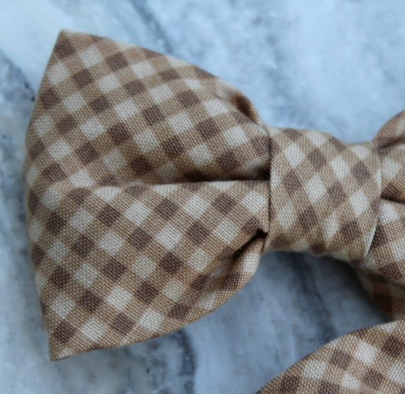 Mens Brown Gingham Plaid Bow Tie - clip on, pre-tied with adjustable strap or self tying