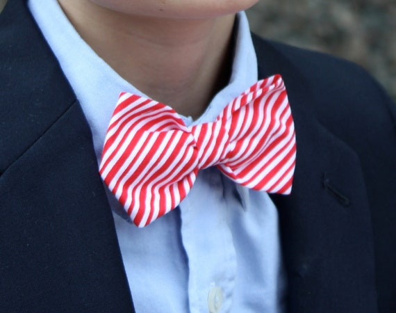 Red and White Tiny Candy Cane Stripe Bow Tie - clip on, pre-tied with strap or self tying - christmas outfit