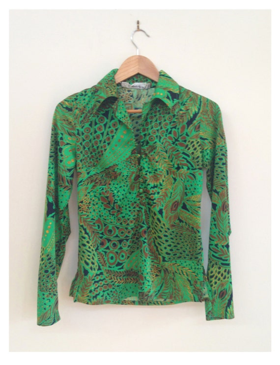 70s Psychedelic green and gold feather print shirt
