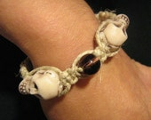 Halloween skull hemp bracelet with glass bead