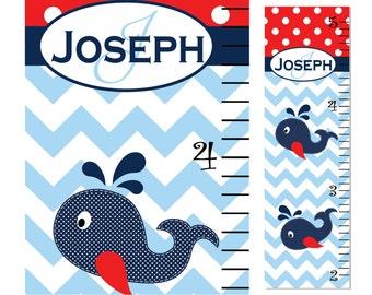 Growth Chart Children Whale Chevron Polka Dot