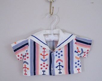 Vintage 1960s Baby Sailor Shirt / Red, White and Blue Anchors