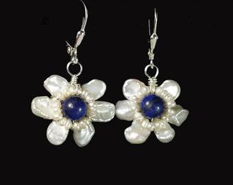 Wired Flower Pearl Lapis Lazuli Earrings Gemstone Flower Earrings Sterling silver wire wrap