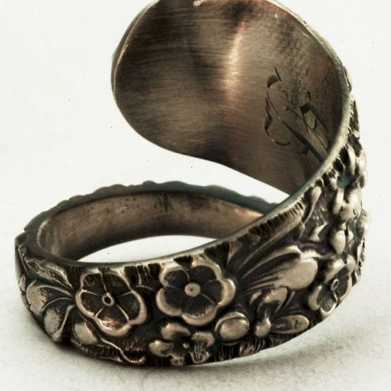 Antique Stieff Forget Me Not Sterling Silver Spoon Ring, Handcrafted in Your Size (2461)