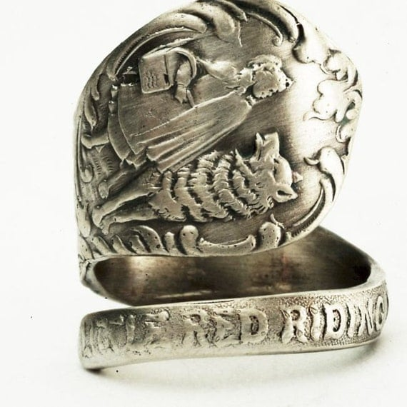 Little Red Riding Hood Sterling Silver Spoon Ring, Handcrafted in your size (2532)