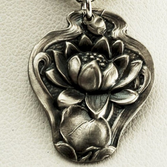 Spoon Pendant Lovely Lotus Victorian Era Sterling Water Lily Pattern Pendant (P059)