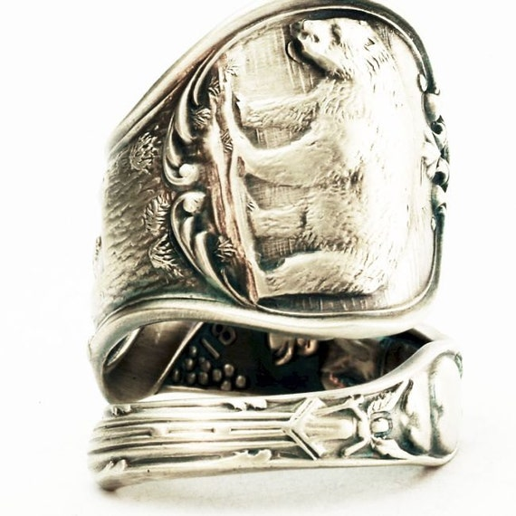Vintage California Bear Souvenir Sterling Silver Spoon Ring , Handmade in Your Size (2589)