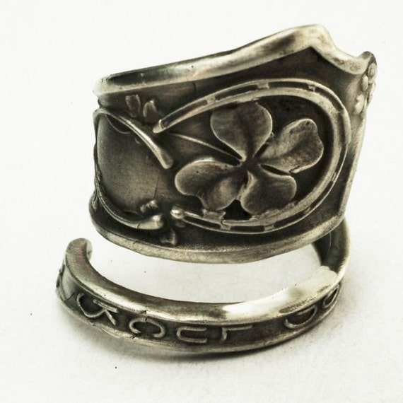 Good Luck Shamrock Four Leaf Clover Sterling Silver Spoon Ring, Handcrafted in Your Size (2907)