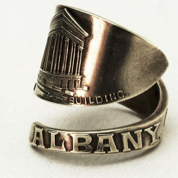 Spoon Ring Historical Albany New York Souvenir Sterling Silver Ring, MADE in Your Size (2933)