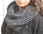Gray Charcoal Chunky Allison Cowl Infinity Scarf