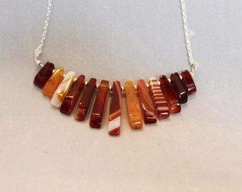 Sterling silver agate fringe necklace