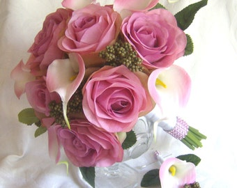 Shades of rose wedding  pink real touch calla lily wedding bouquet fuchsia wedding flowers bridal bouquet and boutonniere set