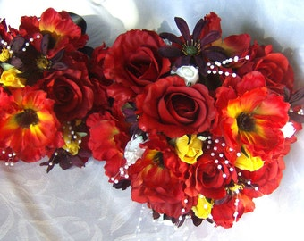 Silk bridal bouquets 4 piece set red roses red flame anemone