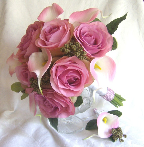 Shades Of Rose Wedding Pink Real Touch Calla Lily Wedding