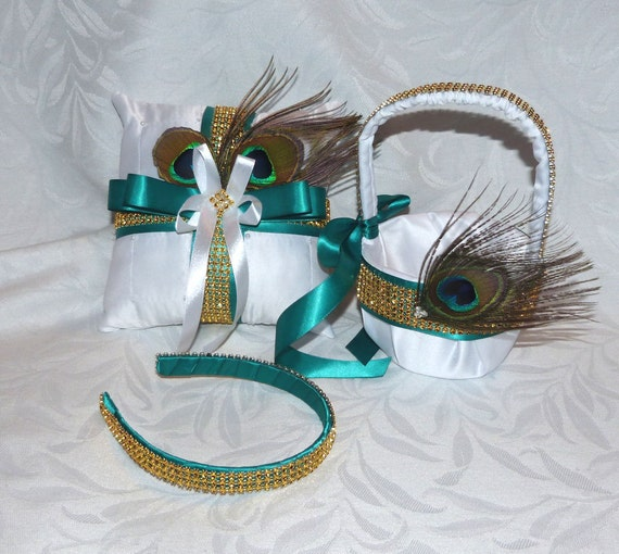 Peacock feather teal gold flower girl basket ring bearer pillow  head band set peacock wedding accessorie