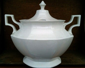 Vintage English Extra Large White Terrine Soup Bowl circa 1920-30's / English Shop