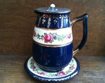 Vintage English Stoneware Milk Jug with Lid and Dish Dark blue with Flowers circa 1940-50's / English Shop