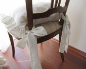 Chair cushions with ties-ruffle linen chair cushion covers - 3 sided ruffled-custom ivory,gray,beige, white, french country shabby chic home